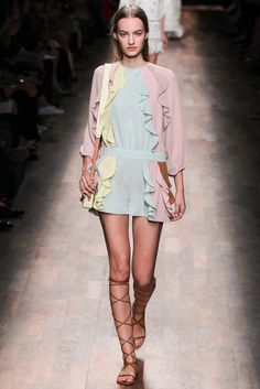 - GARMENT  INTERPRETATION 2 - Valentino Spring/Summer RTW 2015 - Look 38. This look is very feminine due to the use of transparent light-weight chiffon, pastel colors and layered ruffles.