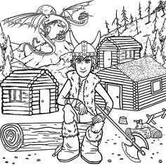 Hiccup from How to train your dragon coloring pages for kids, printable free