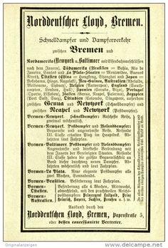Original-Werbung/Inserat/ Anzeige 1894 : NORDDEUTSCHER LLOYD BREMEN -  ca. 160 x 90 mm
