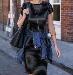 Striped Sheath Dress and Jean Jacket | MEMORANDUM | NYC Fashion & Lifestyle Blog for the Working Girl