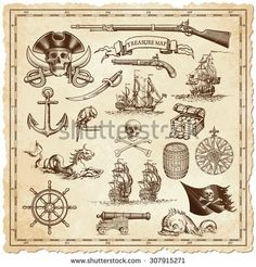 A collection of very high detail ornaments designed to illustrate vintage or treasure maps or othe designs related to vintage travels or pirates. Pirate Symbols, Map Symbols, Pirate Map Tattoo, Beach Canvas Paintings, Pirate Illustration, Fantasy Map Making, Pirate Images, Pirate Treasure Maps, Pirate Treasure Tattoo