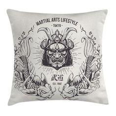 "East Urban Home Japanese Asia Samurai Mask Koi Cushion Pillow Cover Size: 20"" x 20"""