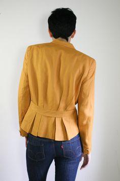 80s mustard yellow Christian Dior blazer / by dustyrosevintage, $96.00