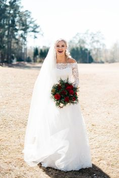 David's Bridal bride is stunning for her winter wedding in this off the shoulder long sleeve lace wedding dress from Oleg Cassini | Photo by Still Co Photography Sheath Wedding Gown, Wedding Gowns With Sleeves, Long Sleeve Wedding, Bride Gowns, Wedding Dress Styles, Lace Wedding, December Wedding Dresses, Winter Wedding Inspiration, Brides And Bridesmaids