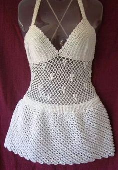 Saida Crochet Lingerie, Crochet Bra, Crochet Cardigan, Crochet Summer Dresses, Crochet Skirts, Crochet Box Stitch, Woolen Clothes, Beach Crochet, Crochet Bathing Suits