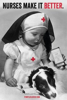 Vintage photo of child playing at being a nurse. –undated -- 65 Photos of Vintage Nurses—Nurses Through the Centuries Vintage Nurse, Vintage Dog, Vintage Children, Vintage Pictures, Vintage Images, Animals For Kids, Cute Animals, Nurse Humor, Pics Art