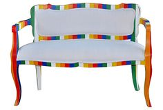 Fun stripes all dressed in white for Spring and Summer by Steven Shell. Love this painted bench!