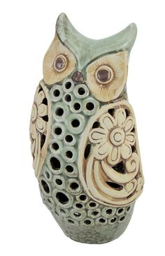 abstract owl pottery | 13 inch Mottled Sage Green Ceramic Owl Statue Open Work Design | eBay