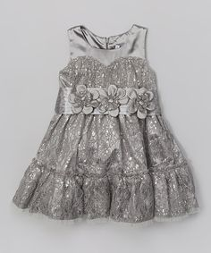Look at this Trish Scully Child Silver Lace Tiered Dress - Toddler