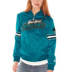 San Jose Sharks Womens Starter Blitz Satin Jacket – Teal