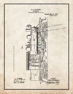This is a Patent Print for a Locomotive Train. Stafford and it was issued on September 1909 by the United States Patent and Trademark Office. Old Trains, Patent Prints, Steam Engine, Steam Locomotive, Ontario, Poster Prints, Art, Style, Trains