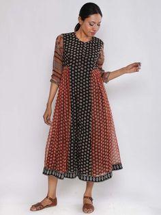 Black Red Kediyu Kota Cotton Dress