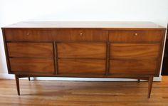 Mid century modern 9 drawer low dresser credenza by Dixie