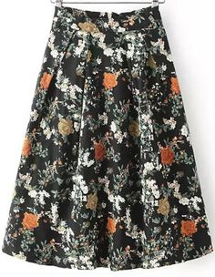 With Zipper Vintage Florals Skirt