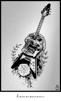 jeff hanneman, guitar, skull tattoo, drawing