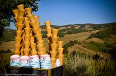 Gelato Bicycle serving cones by the pool, great idea Umbria wedding.