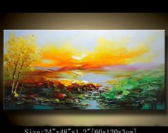 contemporary wall art,Palette Knife Painting,colorful Landscape painting,wall decor,Home Decor,Acrylic Textured Painting ON Canvas Chen 18a7