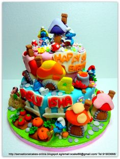 Colorful Smurf cake