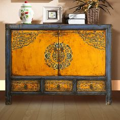 What a beautiful piece of Chinese antique furniture from Beijing - love the strong colour too #homedecor #homedecorideas #orientalstyle #chinesefurniture