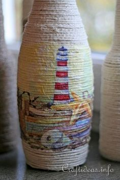 Summer Recycling Craft Idea - Flower Vase Created by Wrapping Glass Bottle with Jute Yarn