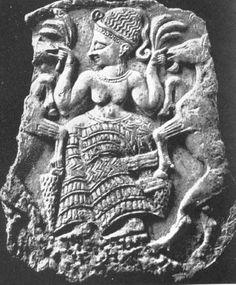 Ugarit Fertility Goddess 'Mistress of the Animals' w/sheaves of wheat &  flanking goats