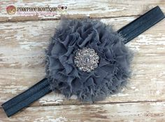Steel Grey Silver Pleated Shabby Flower Headband, Baby Headband, Infant Headband, Flower Girl, Newborn Headband, Baby and Toddler, Baptism - pinned by pin4etsy.com