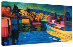 Quadro moderno Astratto Kandinsky Marina Paesaggio Arte Arredo Stampa su tela