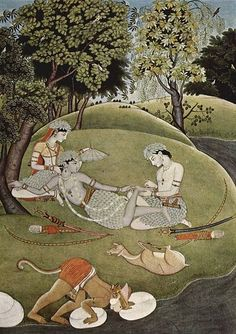 Sita, Rama, and Lakshmana in the forest painting c. 1780 ( Wikimedia ) Detail: