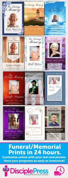 Customize a beautiful funeral/memorial program with your own text and photos. We'll print and ship to you within 24 hours. Choose from 2 page, 4 page, 8 page programs, prayer cards, bookmarks and much more. Memorial Cards, Funeral Memorial, Memorial Poems, Funeral Poems, Funeral Cards, When Someone Dies, Funeral Planning, Funeral Arrangements, Memory Pillows