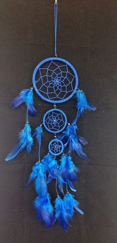 BLUE DREAM CATCHER 3 circles 3.5 feather decoration by SweetieLots, ฿265.00