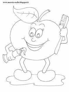 Mela, banana, pera, arancia e castagna...   pronti da appendere alle pareti del bagno della scuola. Mittens, Kids Rugs, Printables, Mandala, Eminem, Drawings, Creative, Hearts, School