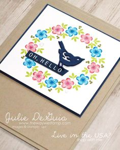 Tranquil Tulips by Stampin' Up! for GDP124   wreath card   friendship card   handmade cards   rubber stamps   The Way We Stamp   Julie DeGuia