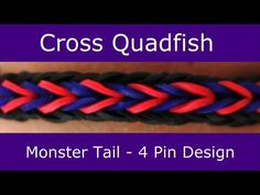Monster Tail Cross Quadfish Bracelet. Designed and loomed by Suzanne Peterson for Rainbow Loom. Click photo for YouTube tutorial. 04/05/14