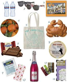 Here are some adorable out-out-town welcome guest bags for your wedding guests. This week's theme: San Francisco...