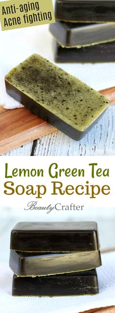 Lemon Green Tea Soap is such an easy soap recipe to make. The results smell divine and the soap has great acne fighting and anti-aging skin benefits. Matcha, Mac Cosmetics, Green Tea Soap, Acne Soap, Homemade Soap Recipes, Lotion Bars, Handmade Soaps, Diy Soaps, Diy Soap Tea