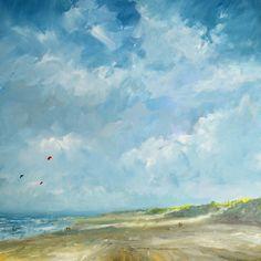 Beach Januari 2015, Acrylic painting by Wim van de Wege | Artfinder