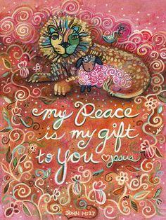 Catholic Wall Art - Painting - My Peace Is My Gift by Jen Norton Catholic Art, Religious Art, Lion And Lamb, Bible Verse Art, Bible Quotes, Bible Illustrations, Christian Art, Christian Verses, Kirchen