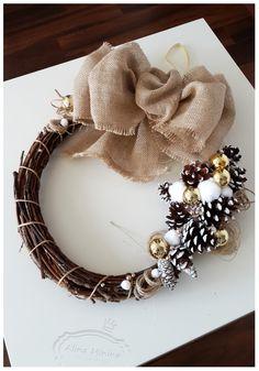 Новогодний венок, декор своими руками, новогодние украшения, шишки, ветки, handmade работа Алины Мининой