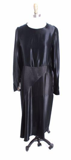 Vintage Antique Black Silk Satin Dress 1920s Art Deco M Wearable