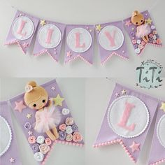 Personalized name, ballerina theme garland, handmade and made to order. This decor is perfect for hanging on the wall at childs room. You can choose the colour of the flags(pennant), letters and the ballerina. Please contact me about the details. Dimensions of single pennant: 13,5 x 19 cm