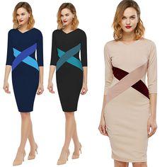 Fashion Simple Sheat Dress Hit Color Stitching V-Neck Womens Pencil Dress