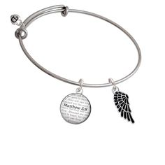 Medium Enamel Angel Wing - Bible Verse Matthew 5:8 Glass Dome Bangle Bracelet >>> Click on the image for additional details. (This is an affiliate link) #CharmsandCharmbracelets