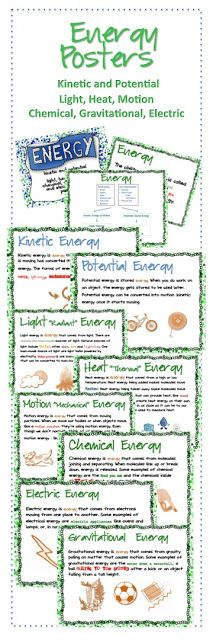 Ms. BBZ: Energy Posters - I had SUCH a hard time finding resources that explained the types of energy (kinetic, potential, light, heat, motion, chemical, nuclear, gravitational) with kid-friendly language that wasn't too difficult or to easy. I made these posters to help!