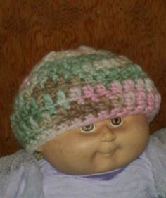 Merino & Silk Newborn Baby Beanie green brown and by amydscrochet, $10.00