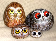 Painted Owl Rocks by Asgo.deviantart.com