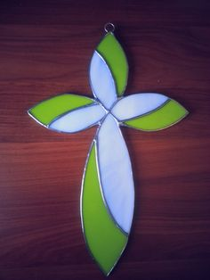 Lime Green and White Stained Glass Cross by crafticritter on Etsy, $48.00