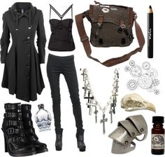 "'""Modern Steampunk"" I could live without a few things but most of it is cool.' I love the shirt, leggings, coat, and messenger bag!"