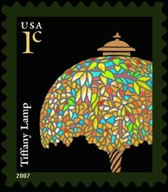 United States stamp - Tiffany Lamp submitted by evan with tags: Going Postal, Envelope Art, Tiffany Lamps, Letter Writing, Mail Art, Months In A Year, Stamp Collecting, Postage Stamps, Coins