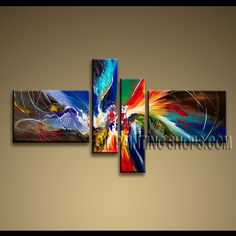Colorful Modern Abstract Painting Oil Painting On Canvas For Bed Room Abstract. This 4 panels canvas wall art is hand painted by A.Qiang, instock - $155. To see more, visit OilPaintingShops.com