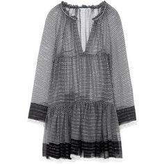 Stella Mccartney Silk Lurex Dress ($1,550) ❤ liked on Polyvore featuring dresses, black, long sleeve ruffle dress, flounce dress, flutter-sleeve dress, silk slip dress and multi-color dress